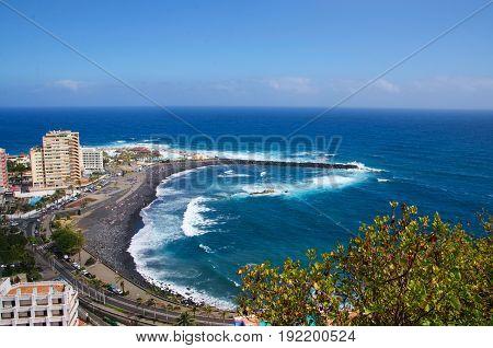 Martianez Beach, Playa Martianez , View from mirador de La Paz, Puerto de la Cruz, Tenerife, Canary island, Spain