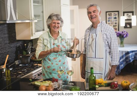 Portrait of cheerful senior couple cooking in kitchen at home
