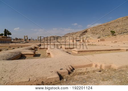 Ruins of Persepolis (UNESCO World heritage sites) ancient Persian city and the ceremonial capital of the Achaemenid Empire situated 60 km northeast of Shiraz city in Fars Province Iran
