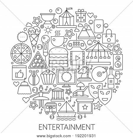 Entertainment infographic icons in circle - concept line vector illustration for cover, emblem, badge. Outline icon set