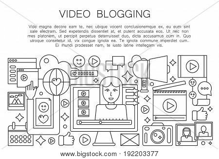 Video blogger thin line concept. Computer screen with female woman blogger. Personal blogging channel broadcasting outline stroke vector illustration