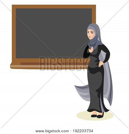 Muslim woman teacher standing in front of blackboard Flat design people characters.