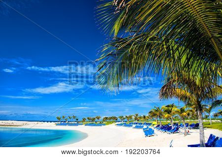Coast With Lounge Chairs On White Sand