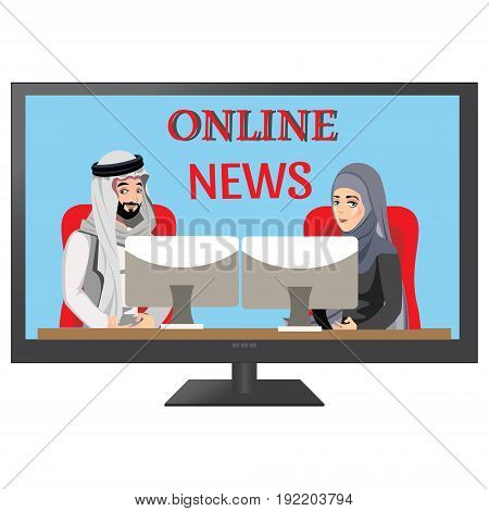 Detailed illustration of muslim TV white background. Vector illustration.