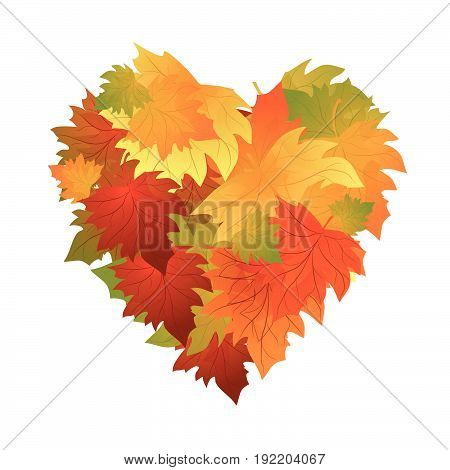 Autumn leaves heart. poster background. Frame with colorful leaves.