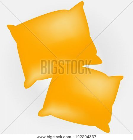 Two yellow empty and soft pillows. Template for your design.