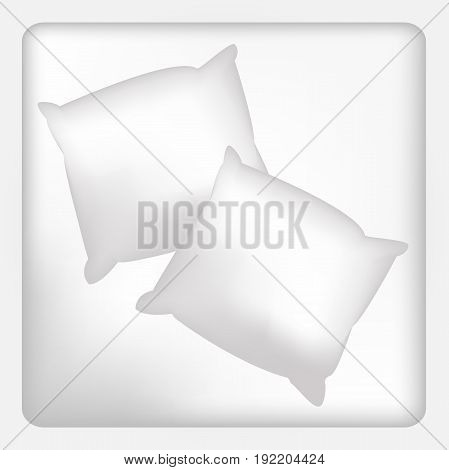 Two Blank white square pillows. vector illustration. Template for your design.