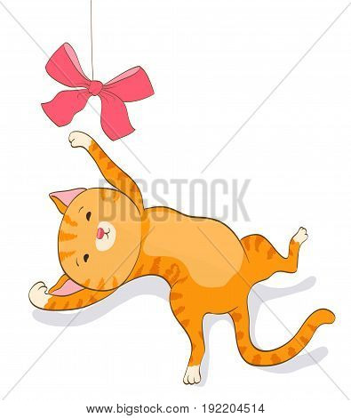 cute cartoon cat playing with bow. red tabby kitten. vector illustration