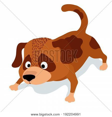 cute cartoon dog sniffing on white. vector illustration