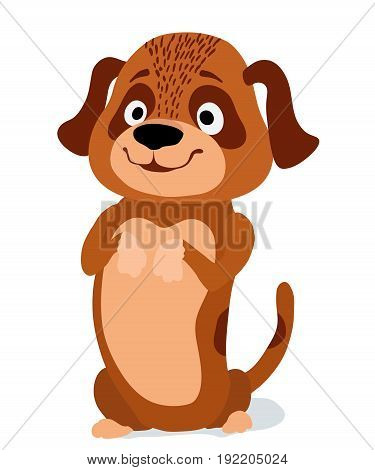 cartoon little cute dog begging. vector illustration