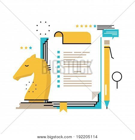 Business strategy, evaluation, assessment flat vector illustration design. Business management and consulting design for mobile and web graphics
