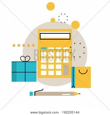 Online shopping, discount offer, budget management, gifts and bonuses, e-commerce, purchasing online vector illustration design for mobile and web graphics