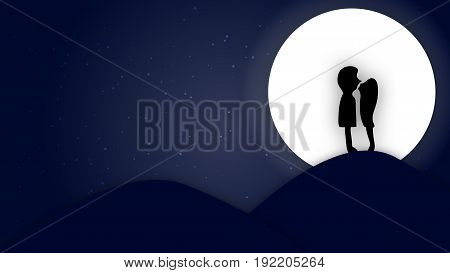 Valentine's day Weeding silhouette paper art concept mini couple kissing on mountain in front of the moon night landscape with stars background copy space for text illustration