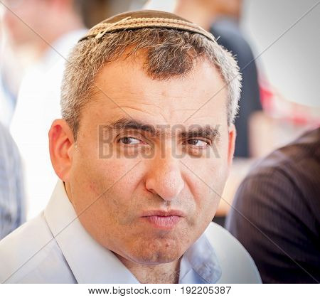 JERUSALEM, ISRAEL. June 20, 2017. Israeli politician Ze'ev (Zeev) Elkin, ecology minister and Jerusalem affairs minister, speaking to the Israeli Russian speaking journalists in the City of David.