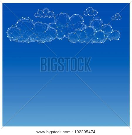 Polygon clouds. set of clouds silhouettes. Blue and white. Abstract geometric background. For design of weather seasons and rain.