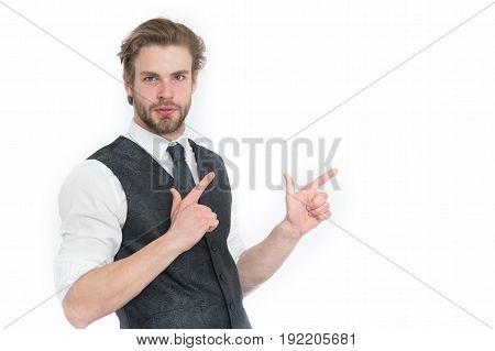 Bearded Man Or Confident Gentleman In Waistcoat And Tie