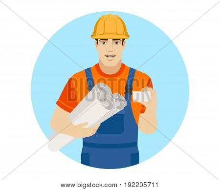 Builder holding the project plans and showing business card. Portrait of builder character in a flat style. Vector illustration.