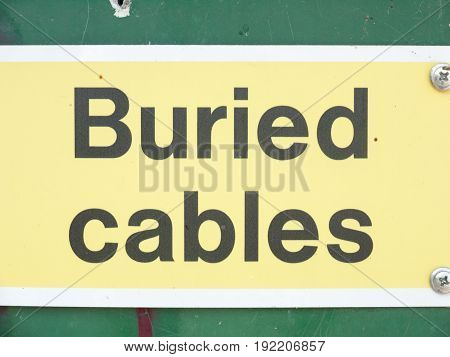 electrical hazard sign yellow buried cables warning