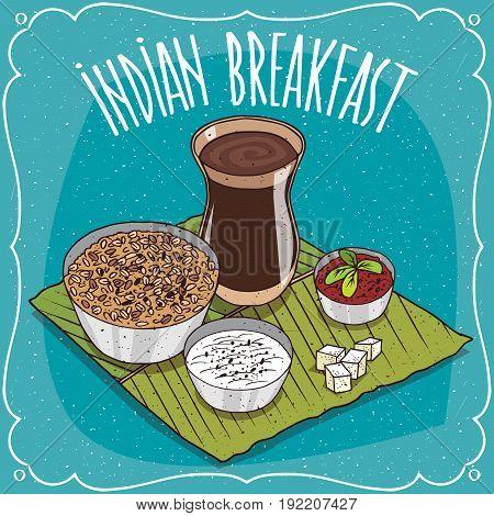 Indian Breakfast With Muesli Or Oatmeal