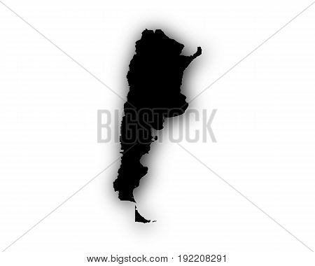 Detailed and accurate illustration of map of Argentina with shadow