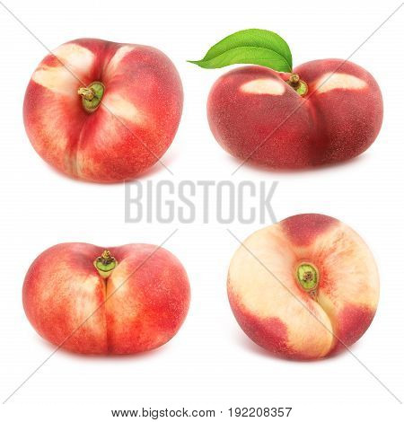 Set of flat nectarines isolated on white. Full depth of field.