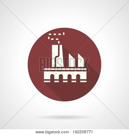 Abstract white silhouette symbol of power plant. Architecture and industry concept. Round flat design burgundy vector icon.