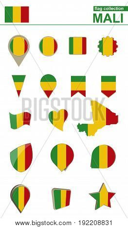 Mali Flag Collection. Big Set For Design.
