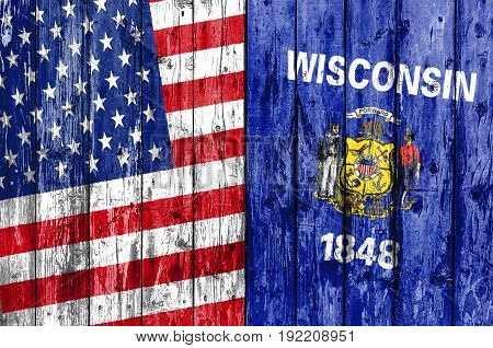Flag of US and Wisconsin painted on wooden frame