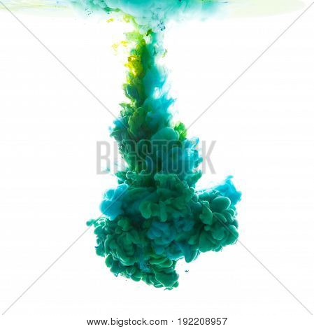 Flow of paint underwater isolated on white