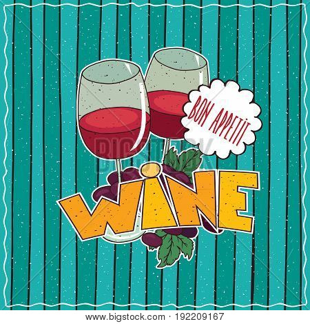 Poster With Glasses Of Red Wine And Grapes