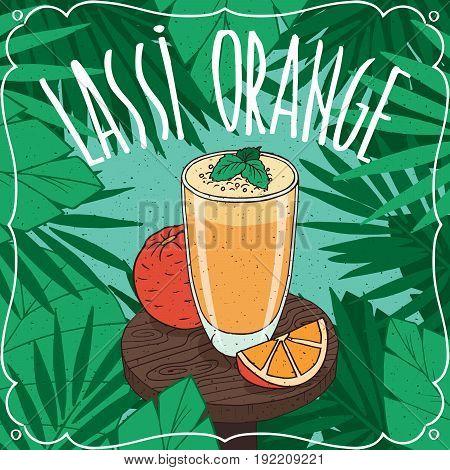 Orange Indian Drink Lassi With Fresh Juice
