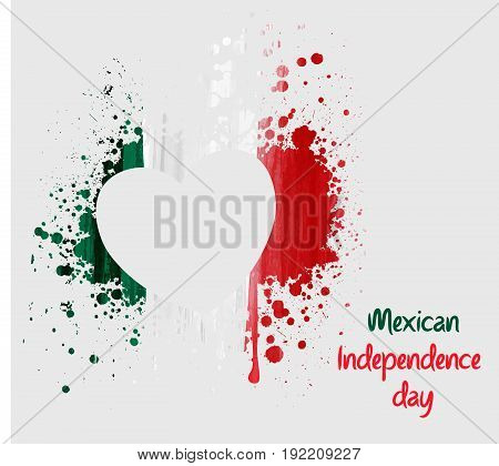 Mexican Independence day background with grunge heart in flag colors. Concept for Independence day poster, flyer, banner, etc.