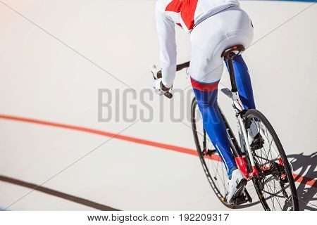 Sport. Cyclist has a traning on a velodrome