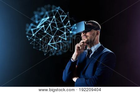 business, people, network, augmented reality and modern technology concept - businessman in virtual headset looking at low poly projection over black background