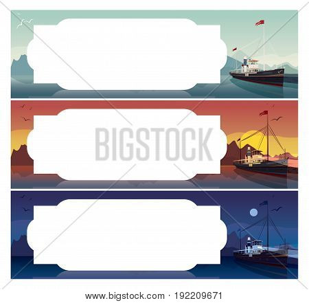 Set Of Horizontal Templates With Old Ship
