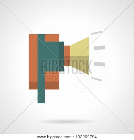 Abstract symbol of industrial alarm. Announcement equipment for factory, workshop. Flat color style vector icon.