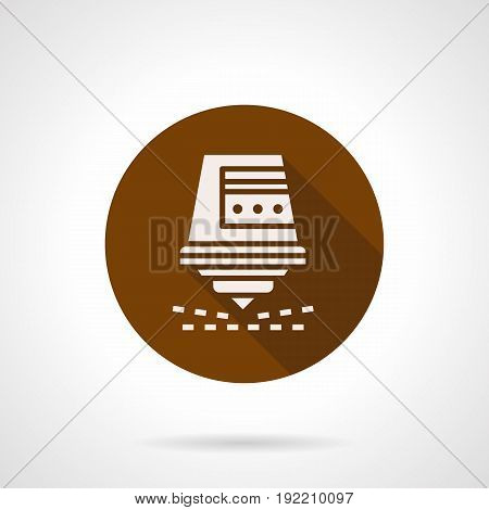 Abstract white silhouette symbol of automatic laser cutter. Industrial modern machinery and technology. Round flat design brown vector icon.