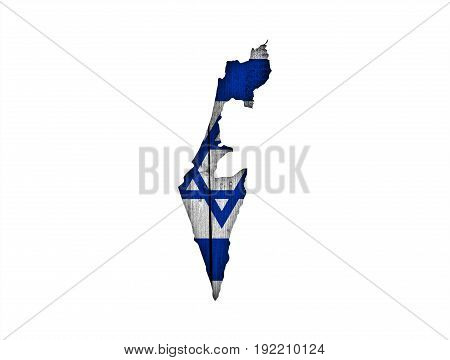 Map And Flag Of Israel On Weathered Wood