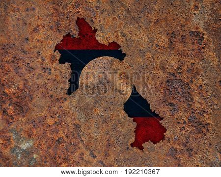 Map And Flag Of Laos On Rusty Metal