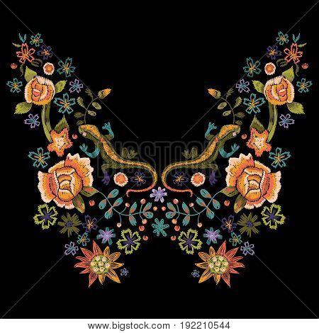 Embroidery folk neck line pattern with roses and lizards. Vector embroidered floral bouquet with flowers for clothing design.