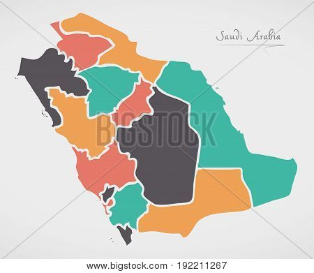Saudi Arabia Map With States And Modern Round Shapes