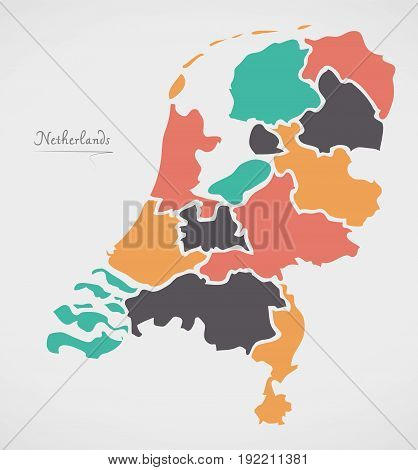 Netherlands Map With States And Modern Round Shapes