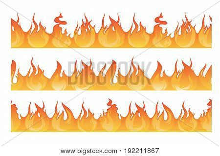 Horizontal seamless pattern of wildfire silhouette. Danger flames vector illustration. Fire horizontal borde isolated on white