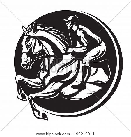 Vector illustration, outline of Indian ink, equestrian sport, riding horse with jockey on white background