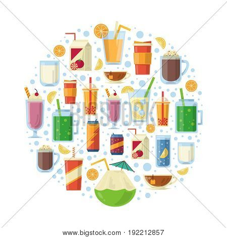 Non alcoholic drinks in circle shape. Vector illustration. Collection of menu different non alcoholic drink cocktail