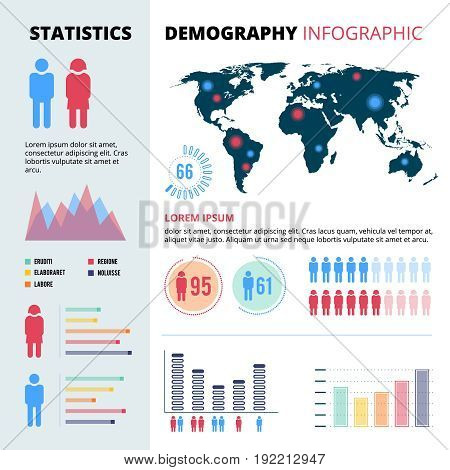 Infographic concept design of people population. Demographic vector illustrations with economic charts and graphs. Data information map economic