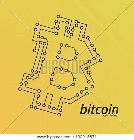 Bitcoin logo like a circuit board. Yellow gradient background. Eps10 Vector.
