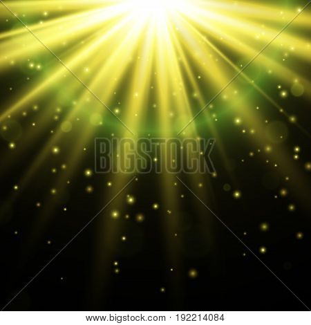 Light effect. Star burst with sparkles, Gold glitter texture EPS10