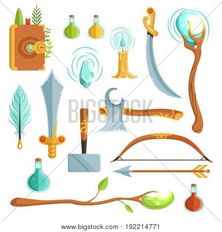 Vector set of fantasy magic weapons. Illustrations for computer game. Magic book and candle, potion and feather