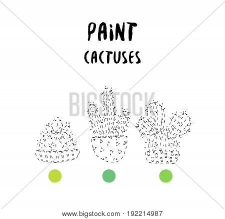 Coloring page with set of contour cacti and paint samples. Vector.